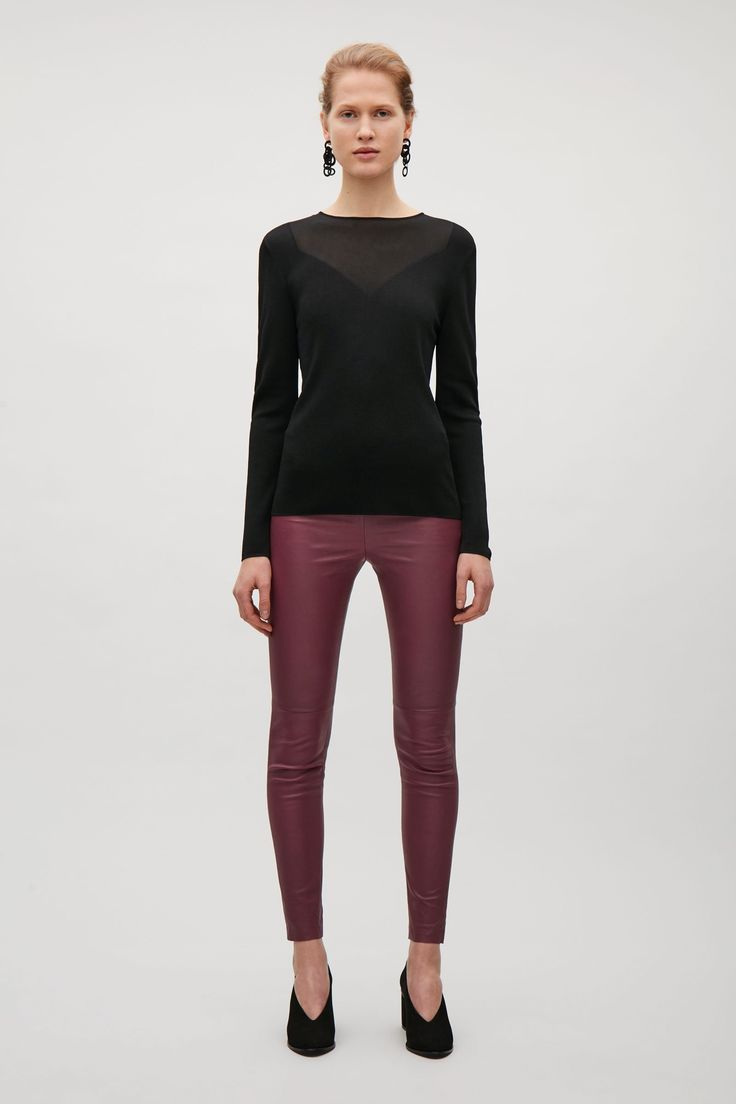 COS image 6 of Slim-fit leather trousers in Burgundy