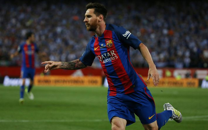 Download wallpapers Lionel Messi, Barcelona, portrait, 4k, Argentinian football player, La Liga, Spain, Leo Messi, football match