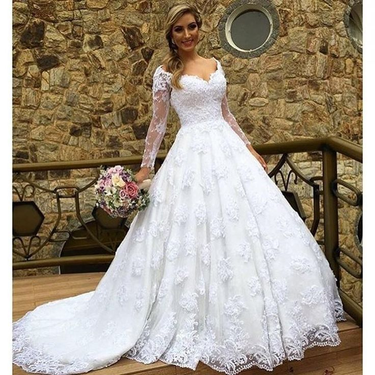 A-Line Long Sleeve V Neck Lace Wedding Bridal Ball Gown Dresses Custom Size New