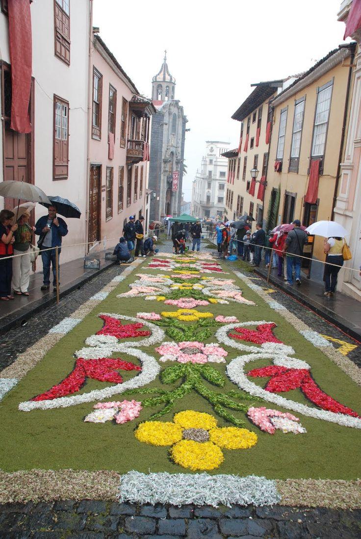 La Alfombra de Flores resiste a la lluvia Corpus en La Orotava Canarias  Spain