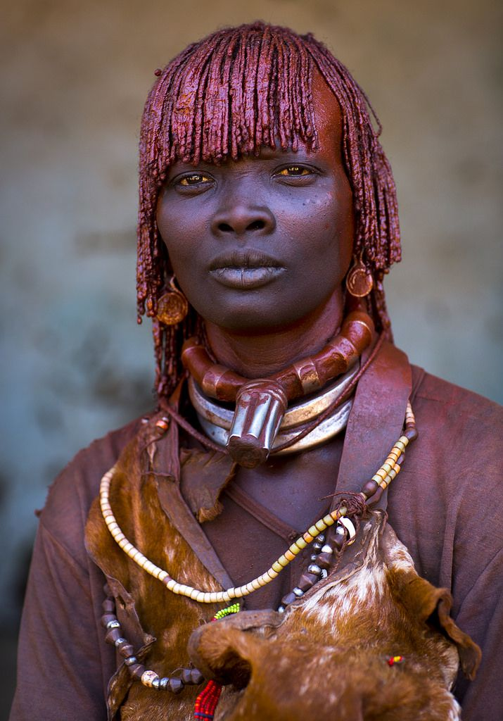https://flic.kr/p/jBHHd1 | Hamer tribe woman, Ethiopia | Hamer tribe woman, Ethiopia. She is first wife as the huge necklace she wears indicates her marital status. It means she ll have power on the second, third etc wives... © Eric Lafforgue  www.ericlafforgue.com