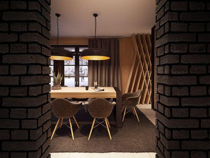 salle manger accueillante avec des murs de brique marron chocolat chaises eames en marron