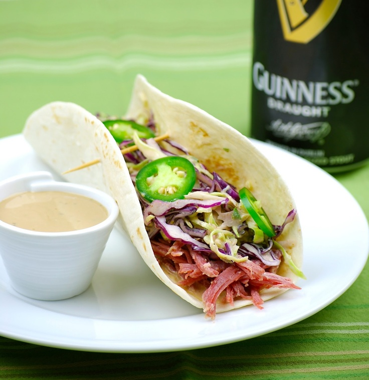 Corned Beef Tacos with Creamy Guinness Dipping Sauce