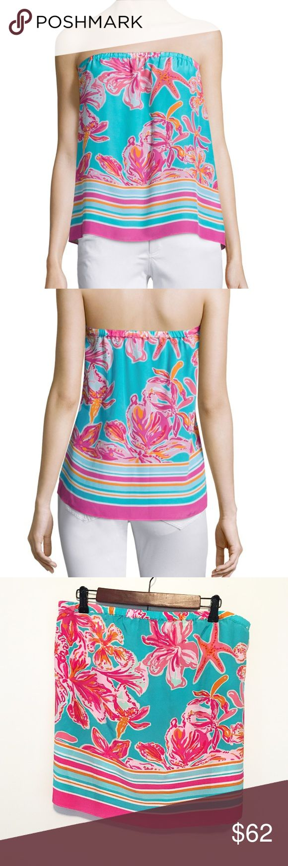 Lilly Pulitzer Sea Blue Via Sunny Odessa Silk Top Summer is around the corner, and here's your new strapless blouse! What tank top tan lines? Lilly Lovers ain't got time for those! Does have a few wrinkles, but otherwise ready to hit the marina! Engineered silk, strapless top. Lilly Pulitzer Tops Blouses