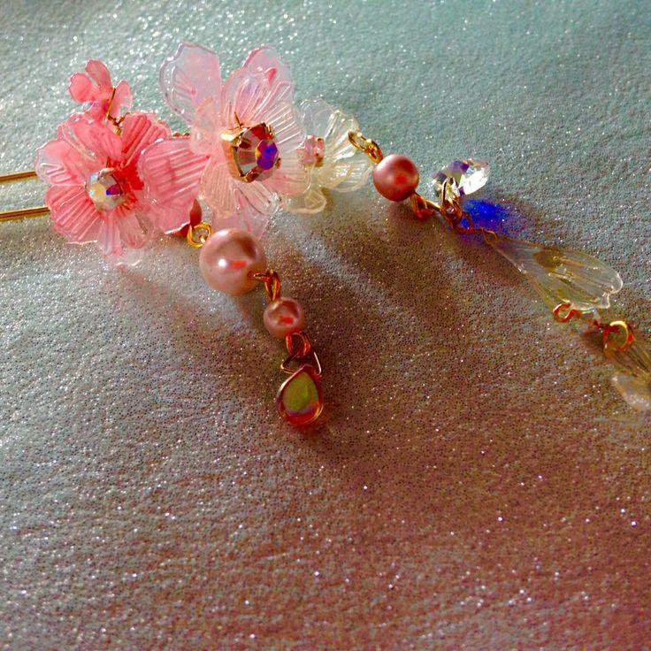 Japanese Kanzashi created by Sweet sorrow お花のかんざし お花のかんざしpink/HA052704P by sweetsorrow【 ハンドメイド、手作り作品の通販・販売サイト minne(ミンネ)】 http://minne.com/items/1831026