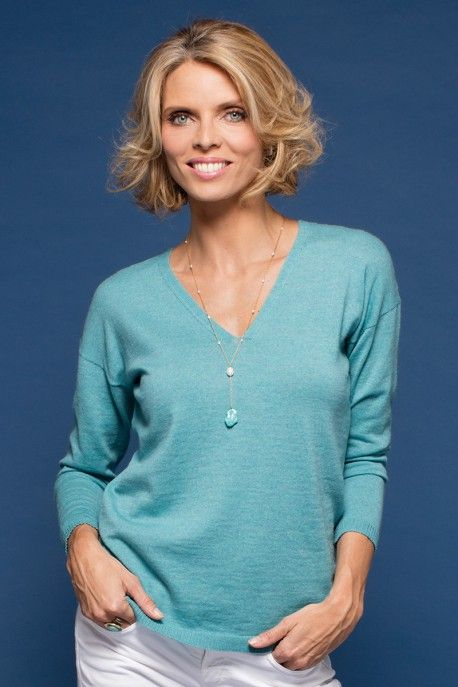 Pull col v laine femme aqua - Maille in France- Sylvie Tellier - Collection Printemps-Ete 2017 B. Solfin