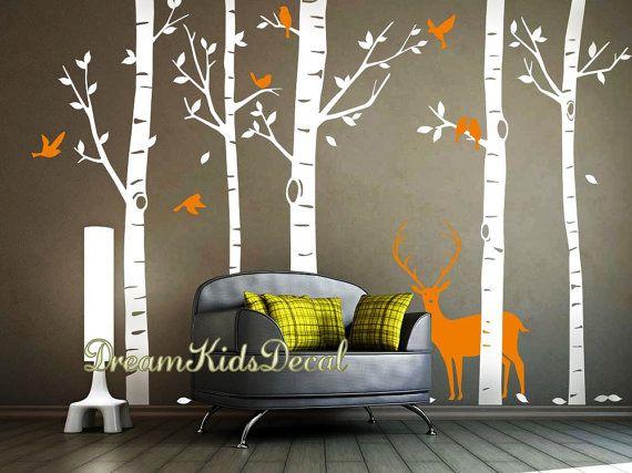 Stickers muraux arbre sticker, Stickers muraux nature, sticker mural en vinyle, bouleau avec Cerf, chambre d'enfant bois murale stickers-DK240