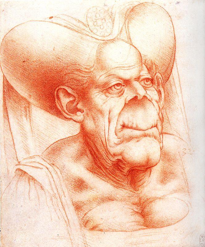 D'après Léonard de Vinci, Caricature de vieille femme, sanguine sur papier, vers 1520, Windsor Castle, Royal Library, Londres