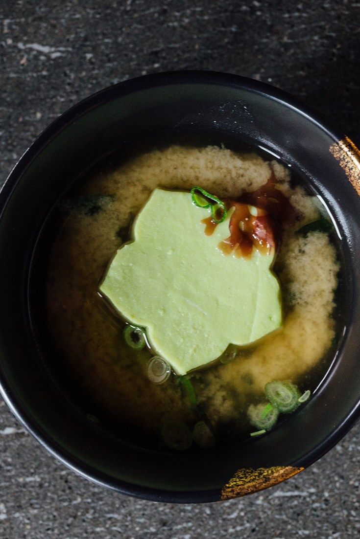 This elegant miso soup recipe from Hideki Hiwatashi is served topped with a piece of homemade tofu. Dashi is used as soup stock, adding a real depth of flavour. A fantastic Japanese soup recipe.