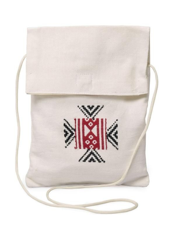 This cotton sling bag has been embroidered in the Toda style - cooliyo.com