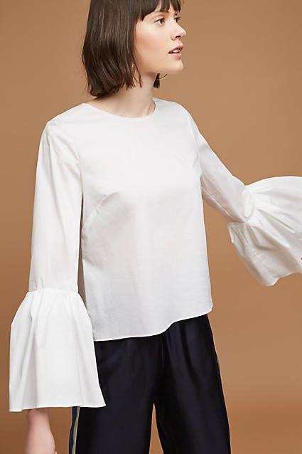 Sunday in Brooklyn Poplin Bell-Sleeved Blouse