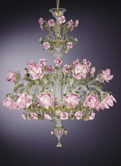 Chandelier Italian: Murano glass chandelier with pink roses, £19,953.77. Find our more : http:,Lighting