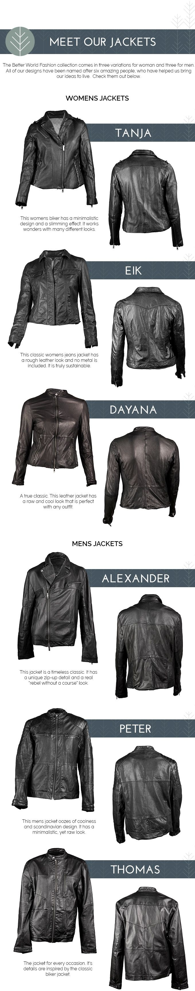 Help Nature! Wear 100% Sustainable Leather Jackets from Better World Fashion. Recycled for life - made for a Better World!