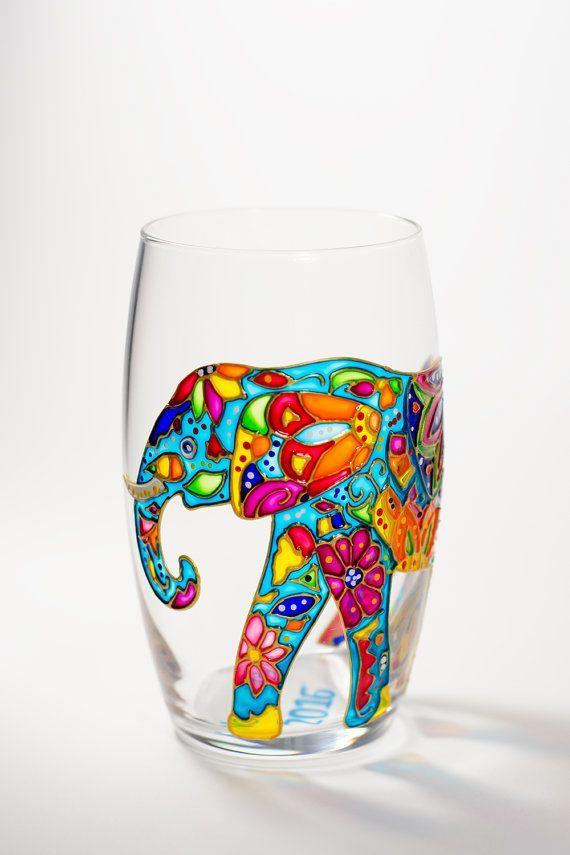 Elephant Wine Glass Hand Painted Drinking Glasses, Stemless Wedding GlassesBohemian Elephant, Safari Animal