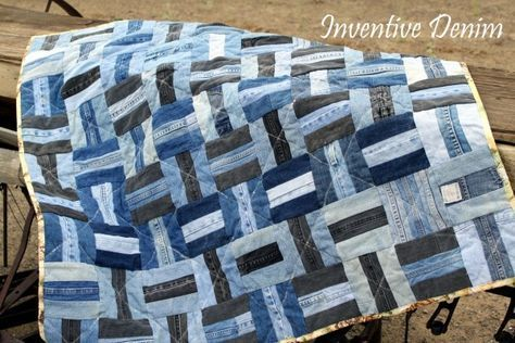A beautiful recycled denim jeans quilt. I've never seen one like this before!!