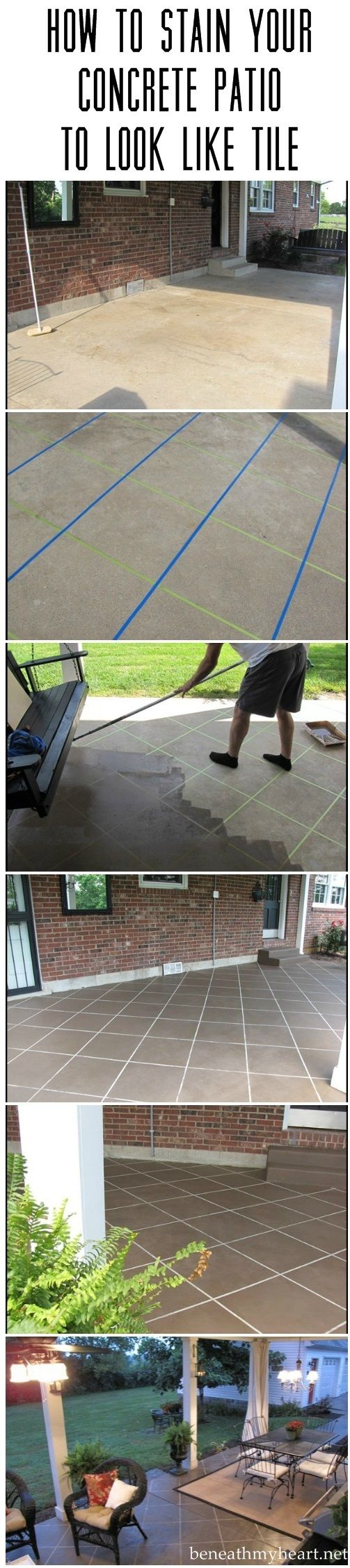 *How to stain your concrete patio to look like tile.
