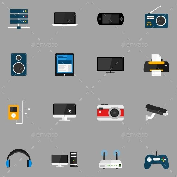 Devices icons Content zip archive: Ai (Vector):(Easy editable colors and size) EPS (Vector):(Easy editable colors and size) CDR (Vector):(Easy editable colors and size) PNG:(64×64, 128×128, 256×256) Brief description of icons: 1. Server 2. Notebook 3. PSP 4. Radio 5. Audio Speakers 6. Tablet 7. TV 8. Printer 9. MP3 Player 10. Monitor 11. Camera 12. Web Camera 13. Headphones 14. Computer 15. Router 16. Joystick #vectoricons #flaticons #icondesign #iconset