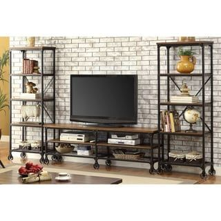 Shop for Furniture of America Daimon II Industrial 3-piece Medium Oak 72-inch Entertainment Unit. Get free shipping at Overstock.com - Your Online Furniture Outlet Store! Get 5% in rewards with Club O! - 18384070