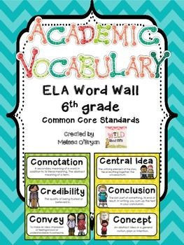 Woo hoo!! 6th grade ELA vocabulary word wall sets are here!!!  Displaying academic vocabulary in the classroom is extremely important! Research shows that students need exposure to new vocabulary words multiple times before they reach mastery. This word wall set is perfect for enforcing academic vocabulary and will look AMAZING at the same time! $ #wildaboutfifthgrade