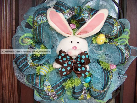 Easter Crystal Blue & Brown Bunny Deco Mesh Wreath by myfriendbo, $79 ...