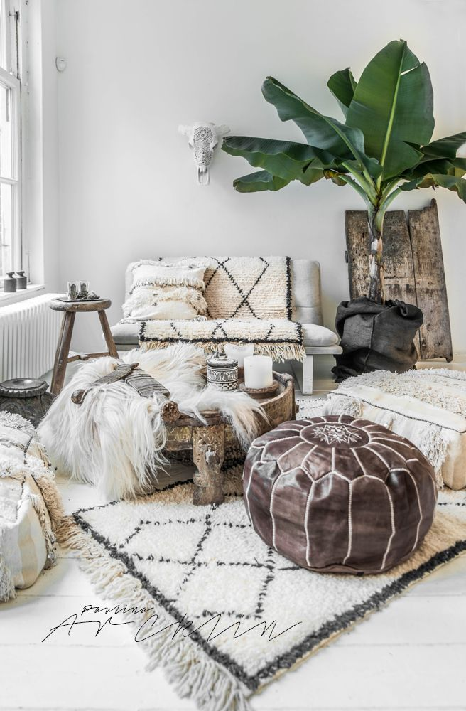 A fusion of Scandinavian and Bohemian Chic decor. Fluffy and warm by Paulina Arcklin.