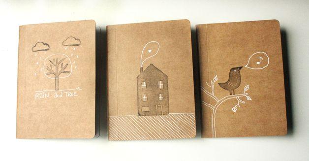 DIN A6 - Pack 3 libretas hechas a mano - hecho a mano por NuriaDiaz en DaWanda…