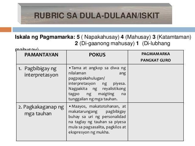 sample rubrics in filipino -