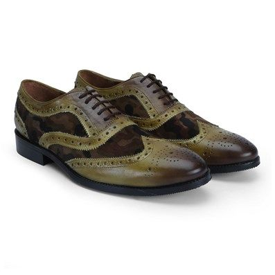 Buy Olive Green Burnished Leather Combination With Camouflage #Velvet #BrogueShoes By Brune Online at Best Low Price @ #voganow
