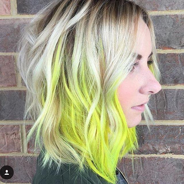 Peekaboo neon haircolor by @kristinbaiocco