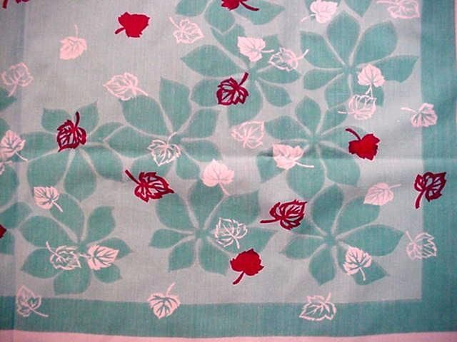 Vintage 50's AQUA Autumn LEAVES Midcentury Tablecloth FALL Modern Graphic FAB!