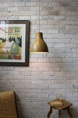 Woodland Pendant Light teak finish in cafe setting