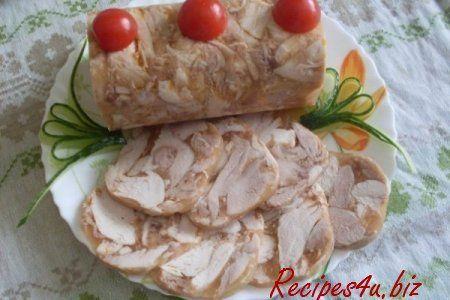 Chicken roll in a bottle