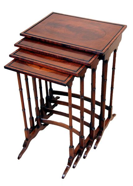 A different kind of nest... antique mahogany quartetto nest of tables (England, c. 1890). Perfect  for tea, post-Easter Sunday lunch. Offered by S & S Timms at The Edenbridge Galleries, Kent. www.edenbridgegalleries.com