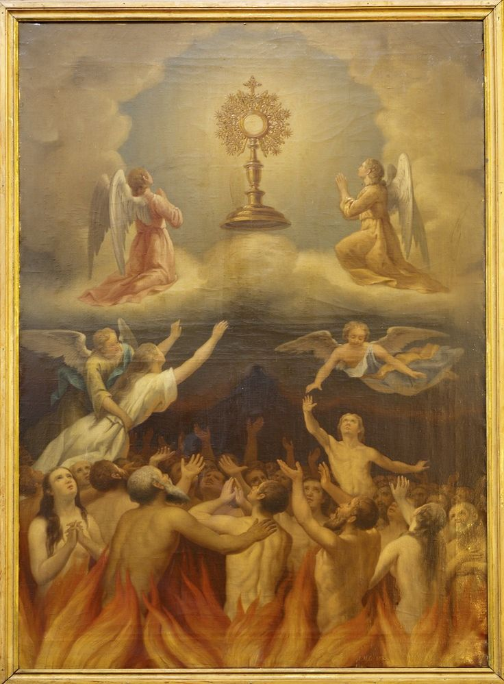 The Holy Souls in purgatory, Angels, and saints all adoring Jesus in the Most Holy Sacrament of the Altar.