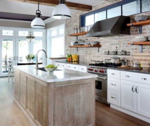 Exposed brick wall clerestory windows beams white cabs for Peach kitchen ideas