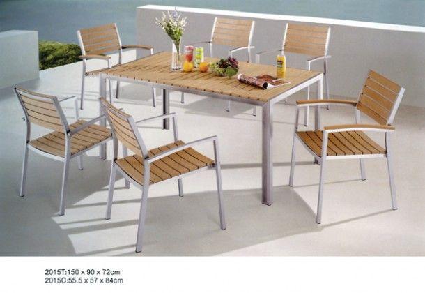 Τραπέζι Εξωτερικού Χώρου Αλουμινίου με Polywood  Τραπέζι Εξωτερικού Χώρου Αλουμινίου με Polywood σε Ανοιχτό Χρώμα Ξύλου 150x90x72εκ.