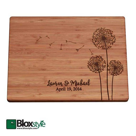 This design is the very first dandelion cutting board on etsy, and we think, undoubtably the best, our beautiful and original hardwood cutting board is shown here custom engraved with a couples first names and significant date, but is often personalized with a single name or a meaningful