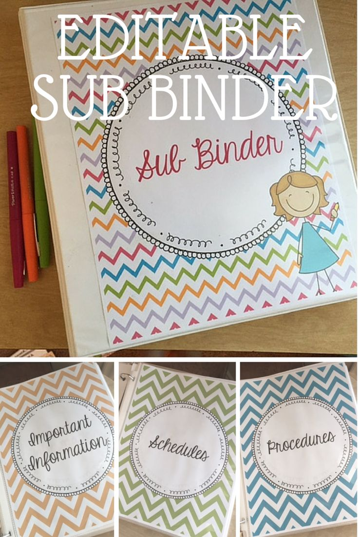 Editable Sub binder, perfect for having things set up and ready to go when you are out without notice or for a long term! This was perfect for my maternity leave!