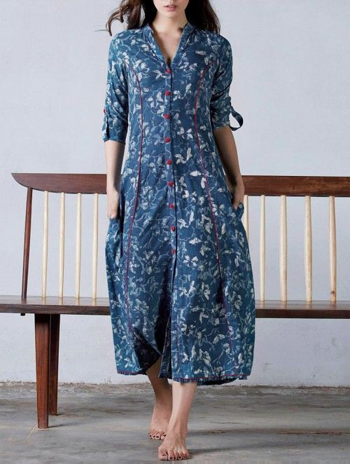 Indigo-Red Princess Line Button Down Natural Dyed Block Printed Cotton Dress /Jacket