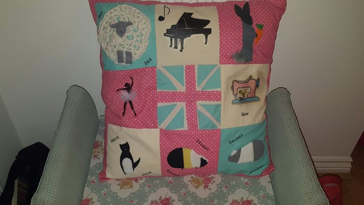 Handmade patchwork cushion cover with everything I love