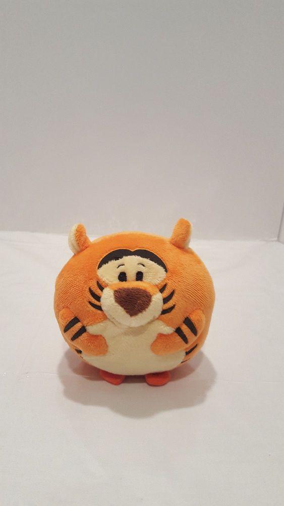 "TIGGER TY BEANIE BALLZ DISNEY Medium 8"" Length 7"" High Plush Stuffed Ball Toy #Ty"