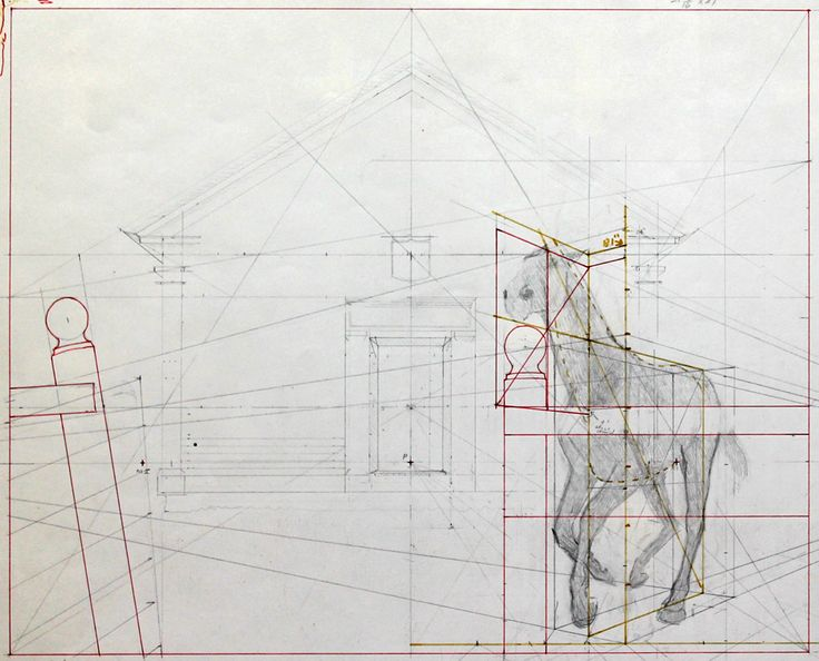 """Alex Colville's preparatory sketch of """"Church and Horse"""" (1964)"""