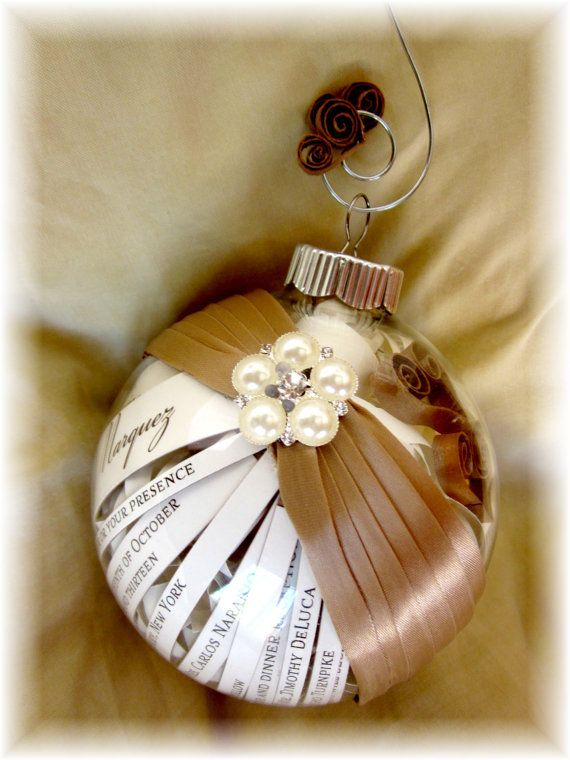 The Perfect Ornament made from Your wedding Invitations Engagement Announcements Photos gift for Parents of the Bride / Groom or Anniversary