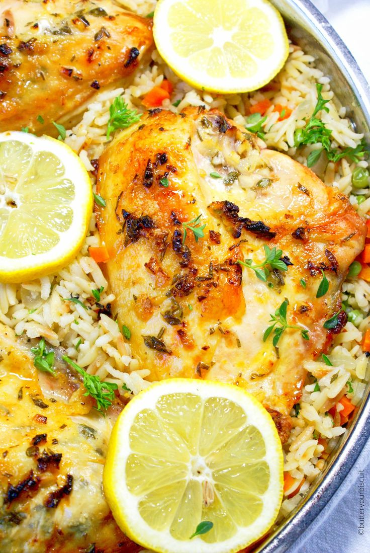 Tender chicken with lemon herb flavor, placed in a bed of tender rice pilaf. Perfect for a elegant meal or just weeknight perfection.