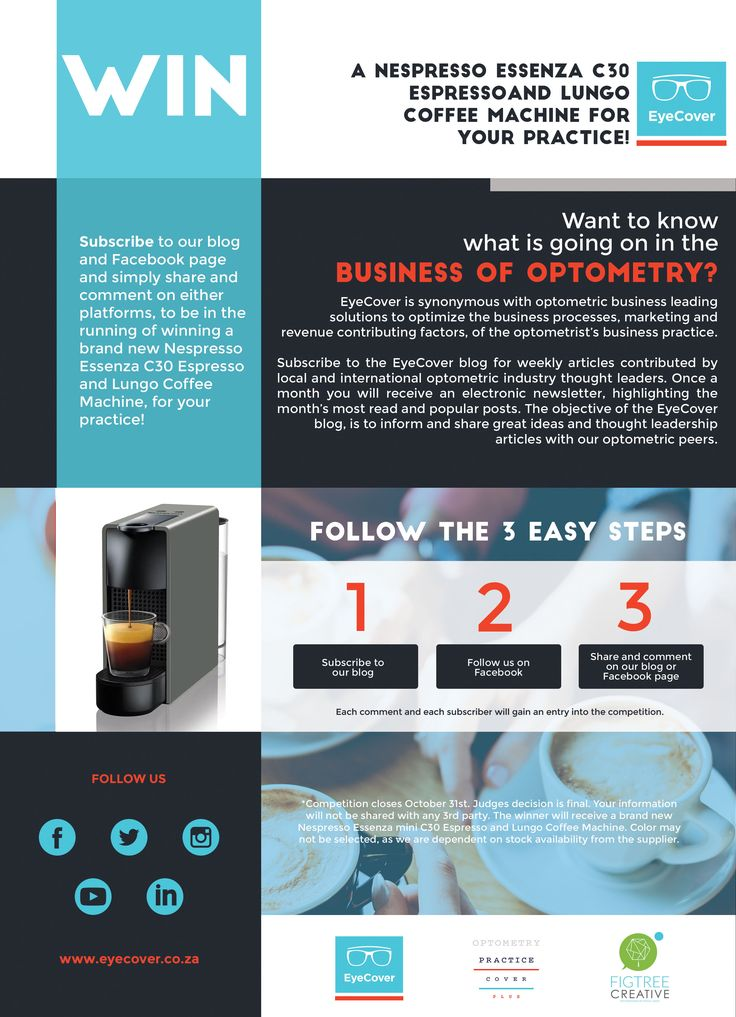 Win a Nespresso Essenza C30 Espresso and Lungo Coffee Machine for your practice!