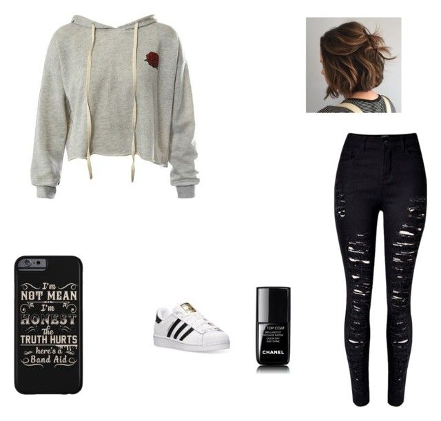"""""""Untitled #15"""" by xcon27x on Polyvore featuring Sans Souci, WithChic, adidas and Chanel"""