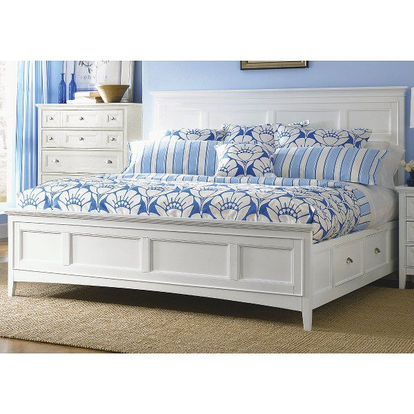 Classic White Queen Storage Bed Kentwood Bedroom Furniture