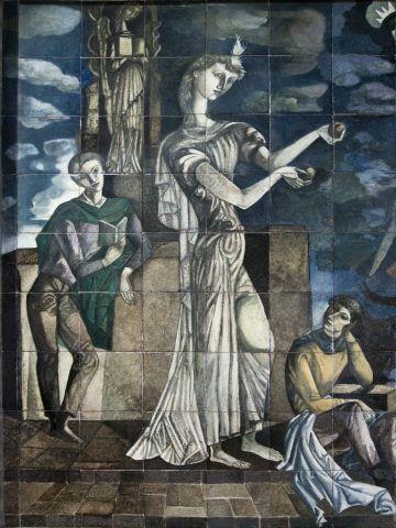 """Jorge Barradas   """"Elogio do conhecimento""""   Faculdade de Letras / Faculty of Letters, Universidade de Lisboa   1957 #Azulejo #JorgeBarradas"""