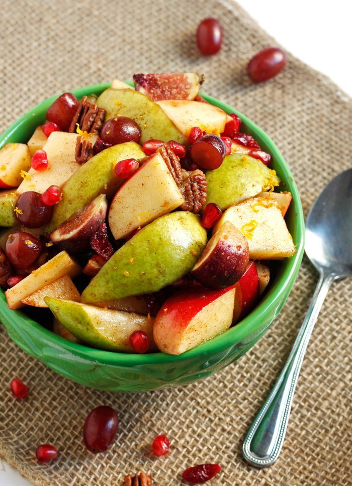 A fall fruit salad recipe bursting with pomegranates, figs, pears, and pecans. All coated in a cozy maple cinnamon dressing. Perfect for Thanksgiving!