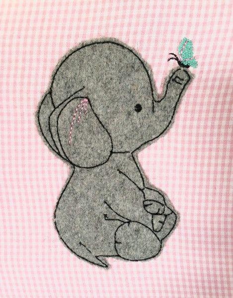 Stickmuster - Ele mit Schmetterling Doodle Stickdatei - ein Designerstück von feinliebshop bei DaWanda